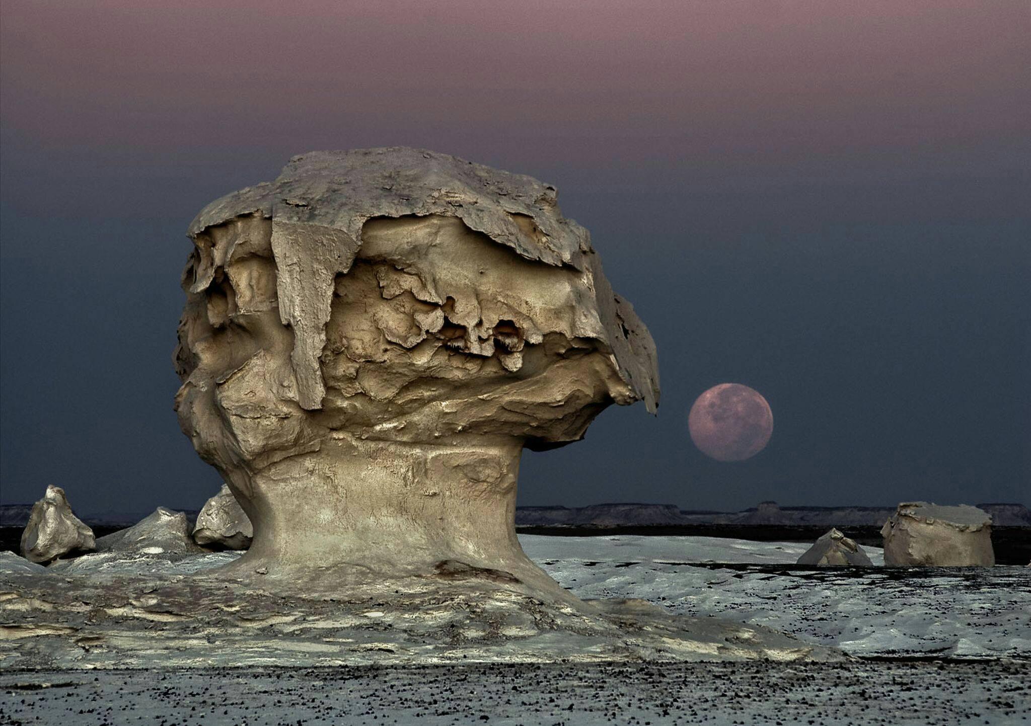 La Luna sorge nel Deserto Bianco, Egitto. La vedete quella struttura a fungo in primo piano? È un classico esempio di fungo di roccia, una forma originata dall'azione eolica in climi aridi: il vento a bassa quota trasporta infatti un maggior quantitativo di detriti sabbiosi più ci si abbassa di quota; questi detriti generano abrasione differenziale sulla roccia dando origine alla tipica forma a fungo. Strutture simili sono i pilastri di terra e le colonne di ghiaccio, ma la loro genesi è differente: i pilastri di terra si formano quando una roccia resistente all'acqua protegge la colonna di terra sottostante dalle intemperie, e le colonne di ghiaccio quando una roccia presente in un ghiacciaio protegge la colonna di ghiaccio sottostante dallo scioglimento dovuto all'irradiazione solare. Fonte foto: National Geographic