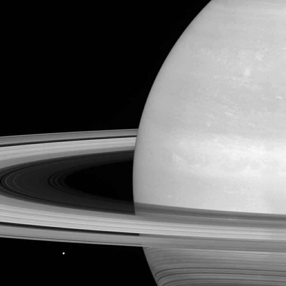 La piccola Luna Mimas sotto agli anelli di Saturno, fotografata dalla sonda Cassini.