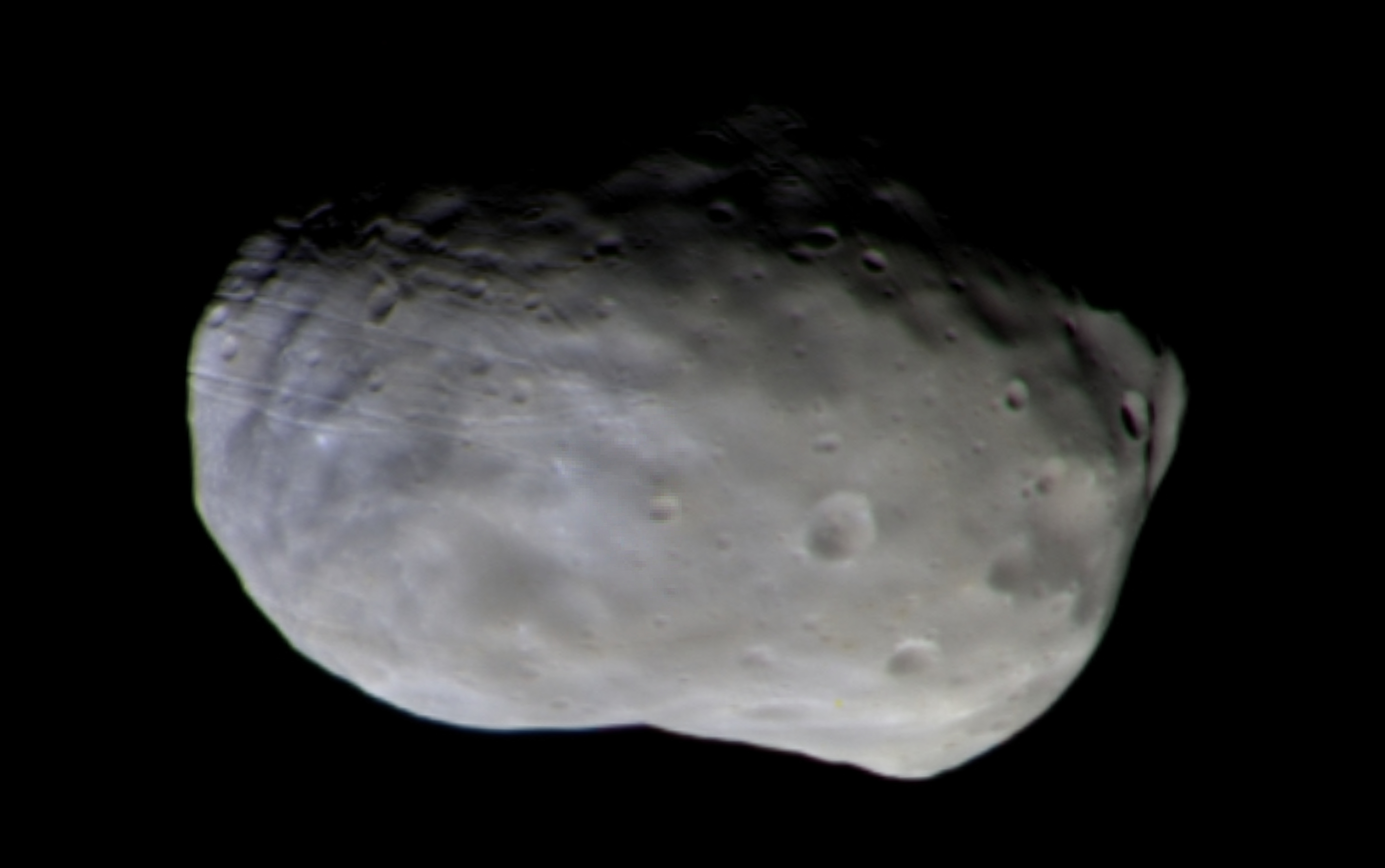 Foto a colori dello strumento CaSSIS a bordo del TGO della luna di Marte Phobos.