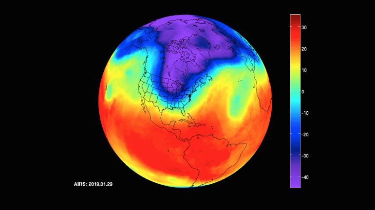 Il vortice polare sugli Stati Uniti